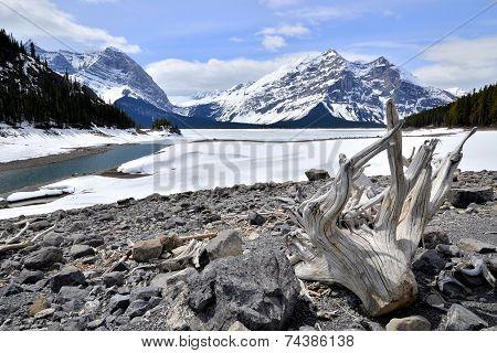 Winter view of a frozen lake