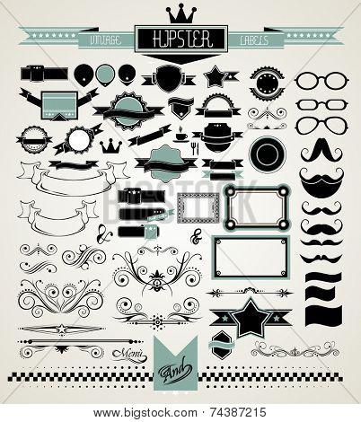 Mega Set of Vintage Labels for your Hipster designs.Labels, ribbons, mustache, frames, glasses, dividers and so on