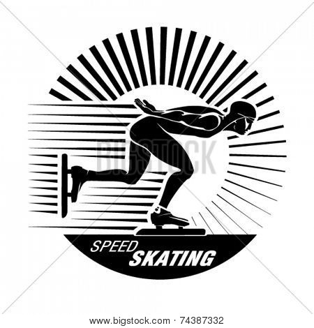 Speed Ice Skating. Vector illustration in the engraving style