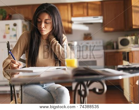african american teen studying