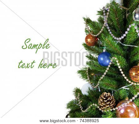 jewelry on a green New Year tree on white background with path