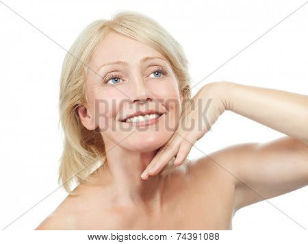 closeup portrait of attractive  caucasian smiling old mature woman blond isolated on white studio shot lips toothy smile face hair head and shoulders tooth riffles