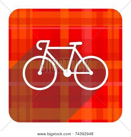 bicycle red flat icon isolated