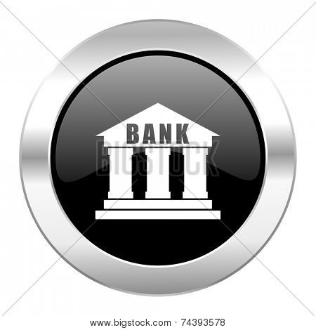 bank black circle glossy chrome icon isolated