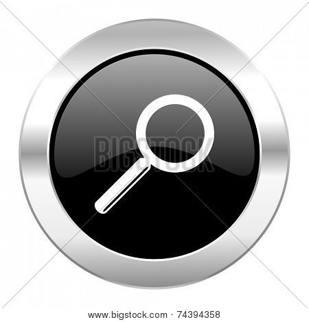 search black circle glossy chrome icon isolated