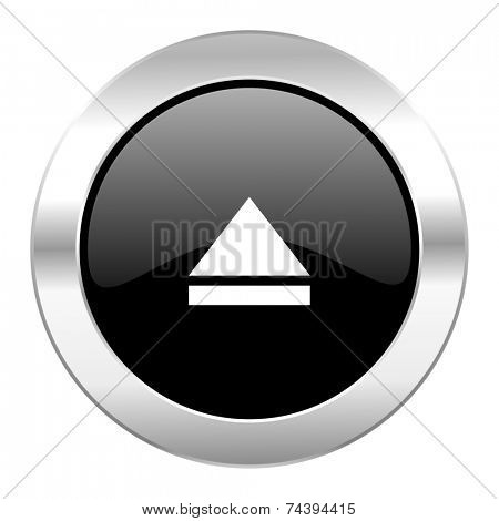 eject black circle glossy chrome icon isolated