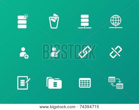 Database icons on green background.
