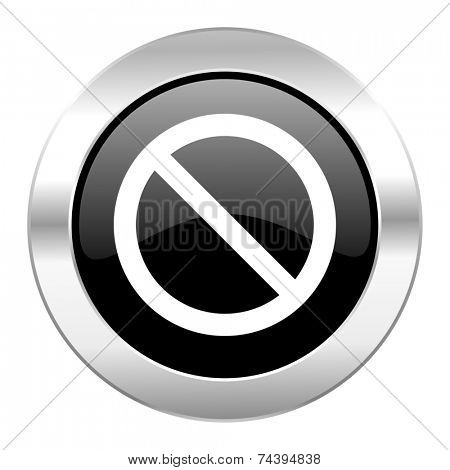 access denied black circle glossy chrome icon isolated