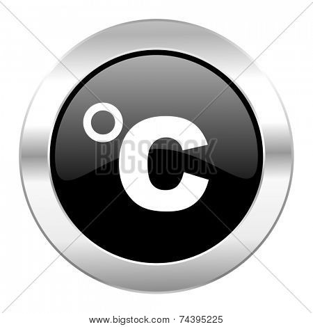 celsius black circle glossy chrome icon isolated