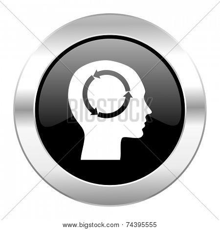 head black circle glossy chrome icon isolated