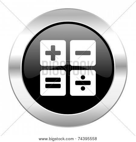 calculator black circle glossy chrome icon isolated