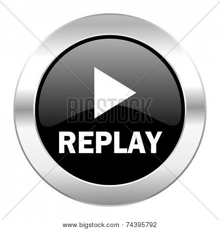 replay black circle glossy chrome icon isolated