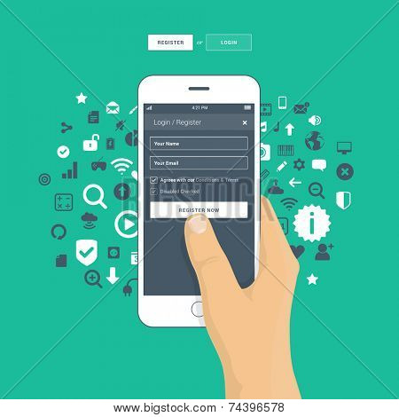 Login / register screen on mobile phone - hand holding mobile phone logging in to website or app - flat design illustration.