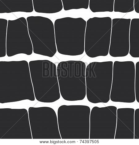 Reptile Skin Seamless Pattern Black Spots On A White Background. Vector