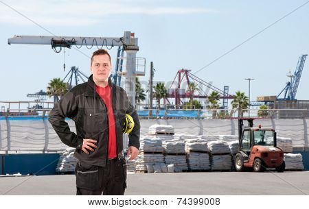 Storekeeper with helmet in port