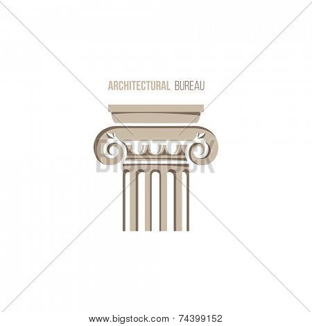 architectural bureau logo template with ionic column