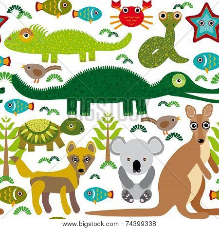 Animals Australia: Snake, Turtle, Crocodile, Alligator, Kangaroo, Dingo. Seamless Pattern On A White
