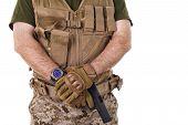 pic of glock  - Soldier man holding his gun - JPG