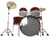 stock photo of drum-kit  - Drum Kit isolated on a white background - JPG