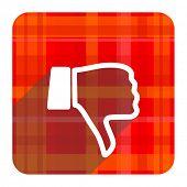 image of dislike  - dislike red flat icon isolated - JPG