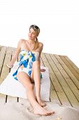 Beach - Woman Sunbathing With Pareo And Sunglasses poster