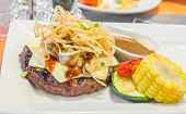pic of cheese-steak  - image of beef steak with cheese on white plate - JPG