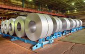 foto of ironworker  - rolls of steel sheet in a factory - JPG