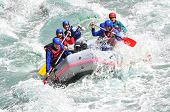 stock photo of raft  - River Rafting as extreme and fun sport - JPG