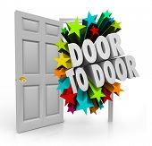 image of soliciting  - Door to Door 3d words bursting through an open doorway to illustrate sales techniques in soliciting for new prospects - JPG