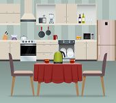 image of floor covering  - Kitchen interior modern home food cooking and dining room realistic poster vector illustration - JPG