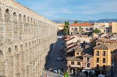 picture of aqueduct  - ancient aqueduct in Segovia Spain - JPG