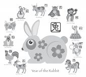 image of rabbit year  - Chinese New Year of the Rabbit with Twelve Zodiacs with Chinese Text Seal in Circle Grayscale Vector Illustration - JPG