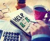 foto of helping others  - Businessman Notepad Help Word Concept - JPG