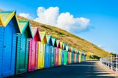 picture of beach hut  - View of colorful beach huts summer vacation concept - JPG