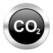 image of carbon-dioxide  - carbon dioxide black circle glossy chrome icon isolated - JPG