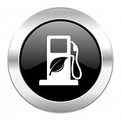 stock photo of ethanol  - biofuel black circle glossy chrome icon isolated  - JPG