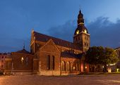 stock photo of doma  - Riga cathedral at night - JPG