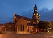 stock photo of doma  - Riga cathedral at night - JPG
