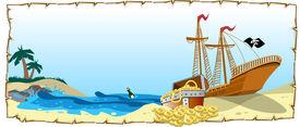 stock photo of peg-leg  - An illustration of pirate ship with treasure - JPG