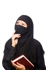 pic of burka  - Muslim womanwith book isolated on the white - JPG