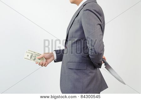 Man Give American Dollar Note And Hiding Knife At His Back