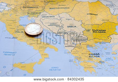 Euro Coin On European Map