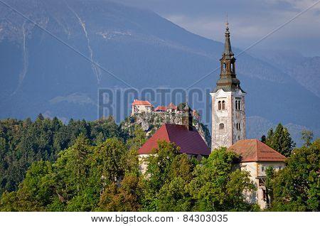 Slovenia, Lake Bled Island And Castle