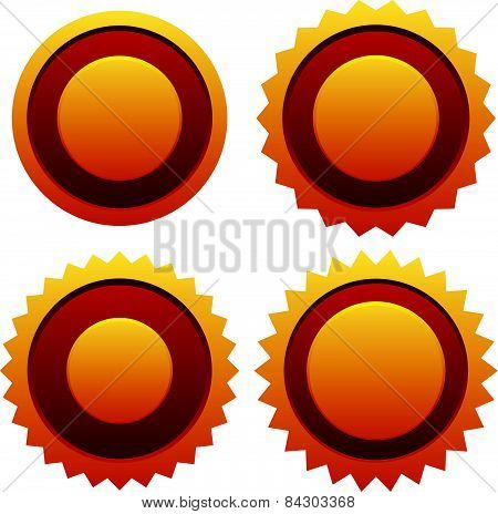 Golden Badges. Certification, Award, Medal, Prize, Honor, Starburst Vector In Red And Yellow