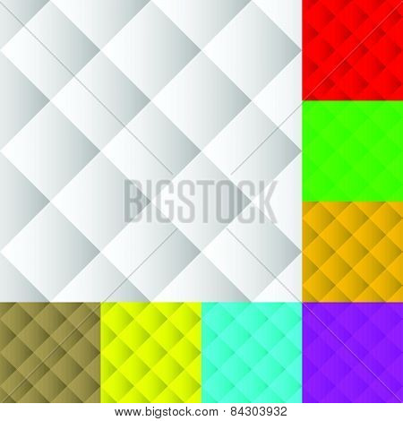 Square Pattern Set. Squarish Seamless Repeatable Pattern, Background Set In Different Colors.