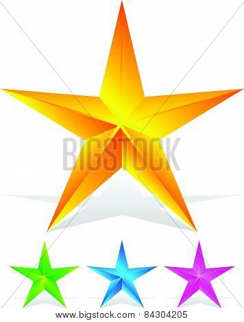 Beveled Stars In Yellow, Green, Pink