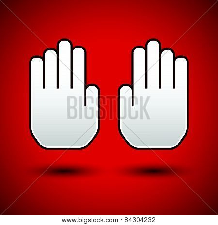 Stop Concept Background. Hand Gesture, Palms As Stop Signage. Restriction, Forbidden, No Entrance Co