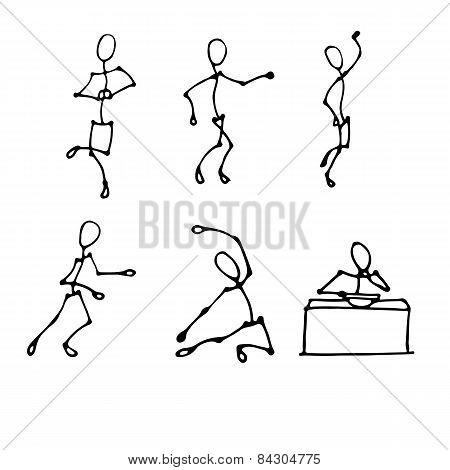 Stick Human Figures Set