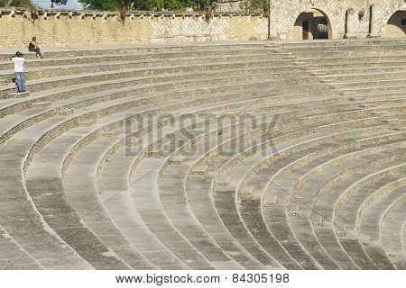 Amphitheater steps in Altos de Chavon village in La Romana, Dominican Republic.