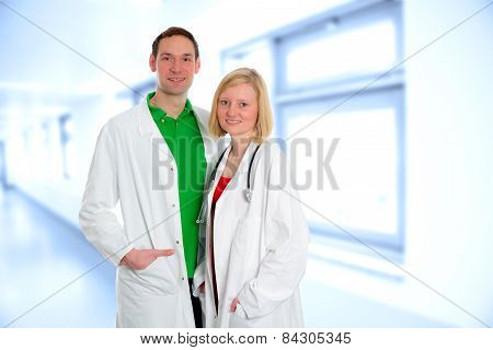 Friendly Medical Team In Lab Coat